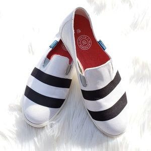Blu Kicks Double Black Slip On Sneakers